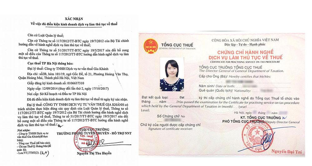 giấy xác nhận hành nghề dịch vụ về thuế