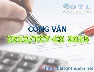 Công văn 2512/TCT-CS 2015 giới thiệu thông tư 96/2015/TT-BTC