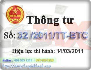 Thông tư 32 /2011/TT-BTC Hướng dẫn khởi tạo phát hành HĐĐT