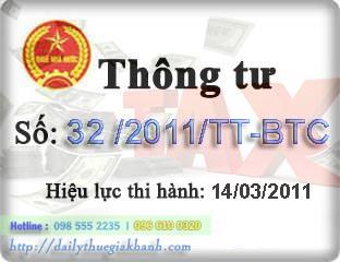 thông tư 32-2011-TT-BTC