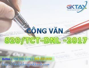 Công văn 820/TCT-DNL – hướng dẫn thực hiện hóa đơn điện tử 2017