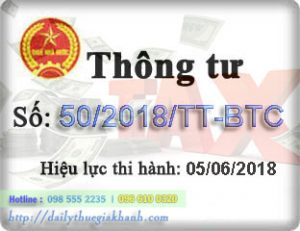 TT 50/2018/TT-BTC